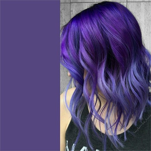 Created with Pravana Vivids Violet at root and Vivids Silver with drops of Violet through mid-shafts and ends.