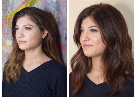 Jamie before and after her Bond Fusion cut and color service.