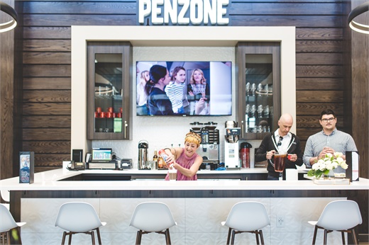 The new coffee bar at Penzone Salons + Spas in Powell, Ohio.
