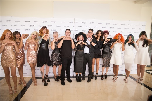 Phil Ring, Larisa Love and Ricardo Santiago with models from all three segments of the Joi-Color Your World presentation.