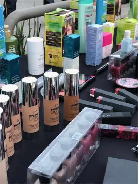 Products on a donation table at the cocktail party, which took place Monday, August 14.
