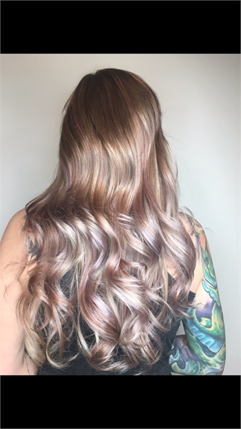 Balayage Using Four Formulas To Create A Violet Rose Gold