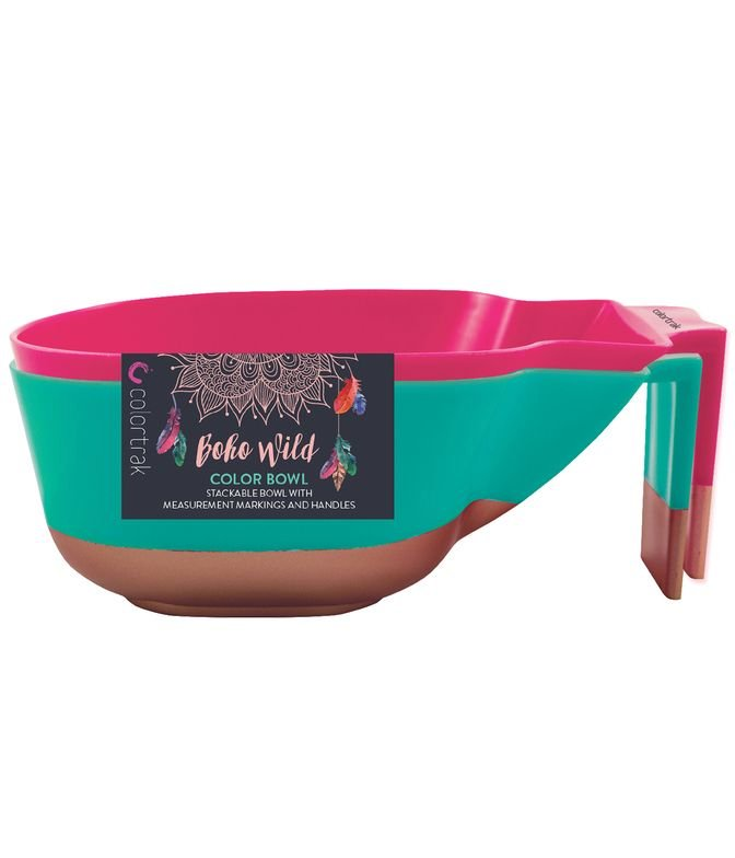 <strong>Stackable color bowls</strong> with measurement marking and handles.