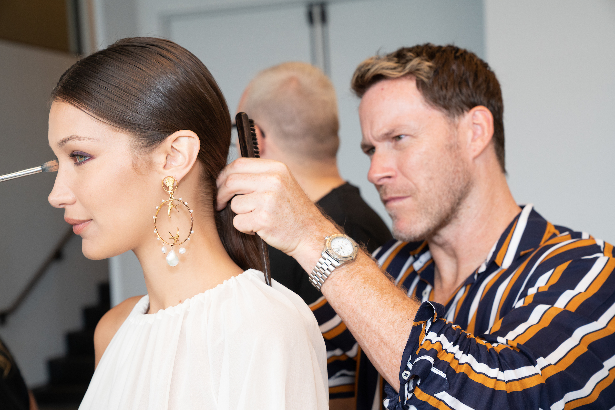 Moroccanoil's Kevin Hughes with Bella Hadid.