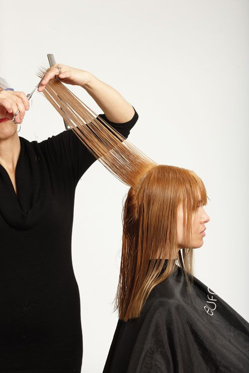 8. To create long layers, pull out vertical sections and elevate. Cut to follow the shape of the head. Blend all around the head.