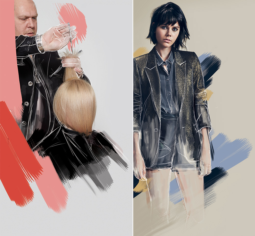 (Left) Hair: Chrystofer Benson, Assistant: Amanda Epstein' Photography: Robert Ligresti (Right) Hair: KMS California Global Style Council Photography: Nick Dorey; Makeup: Lucy Burt; Fashion styling: Julia Sarr-Jamois