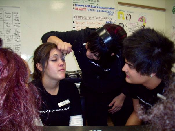 """Rivera and classmates have their first experience with professional make-up application. """"This is where Alexfaction is born!"""" he says."""