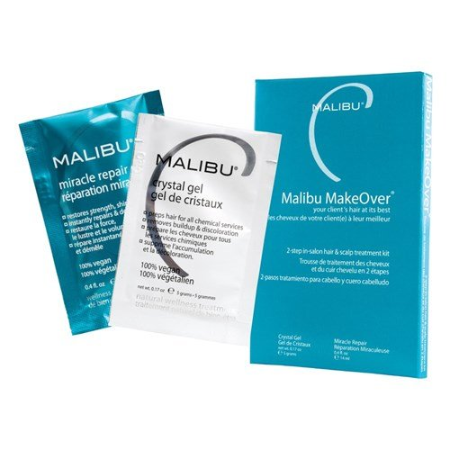 This two-step Malibu MakeOver wellness treatment by Malibu C performed exclusively in the salon, transforms tone, texture, vibrancy, and strength of hair. The first step is a patented blend of antioxidant vitamin crystals that activate into a gel to naturally draw malicious mineral deposits, chlorine and other impurities from the hair and scalp that prevent it from performing at its peak. The second step is a powerful reconstructor formulated with plant-derived proteins that seek out hair's weak spots and rebuild only where damage exists, strengthening strands from within, resulting in the dramatic difference of restoring hair to its peak performance! You'll be wonderfully wowed with strands at their swingy, shiny best and your hair will be