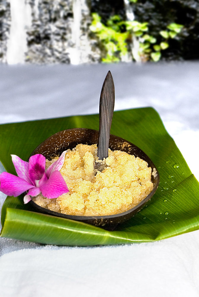 """The """"Kaua'I and Clay Mask Treatment"""" offered at The Spa at Trump in Honolulu, Hawaii uses sugar to help scrub away stress."""