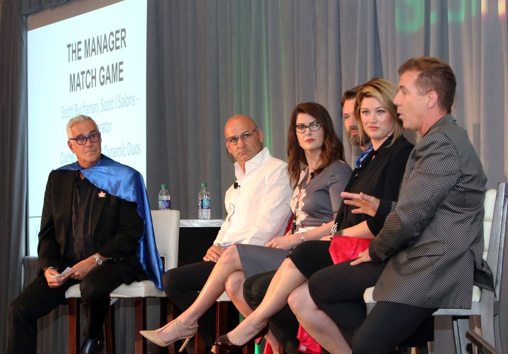 <p>On the Manager Match-Up panel Scott Buchanan moderated a rousing session with Van Michael&#39;s Van Council and Susan Dykstra, Salon Visage&#39;s Monty Howard and Gadabouts Megan Jasper and Frank Westerbeke.</p>