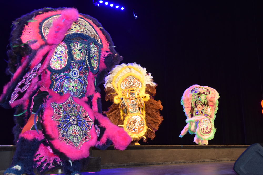 Traditional dancers bring some of New Orleans' Mardi Gras spirit on stage at Serious Business.