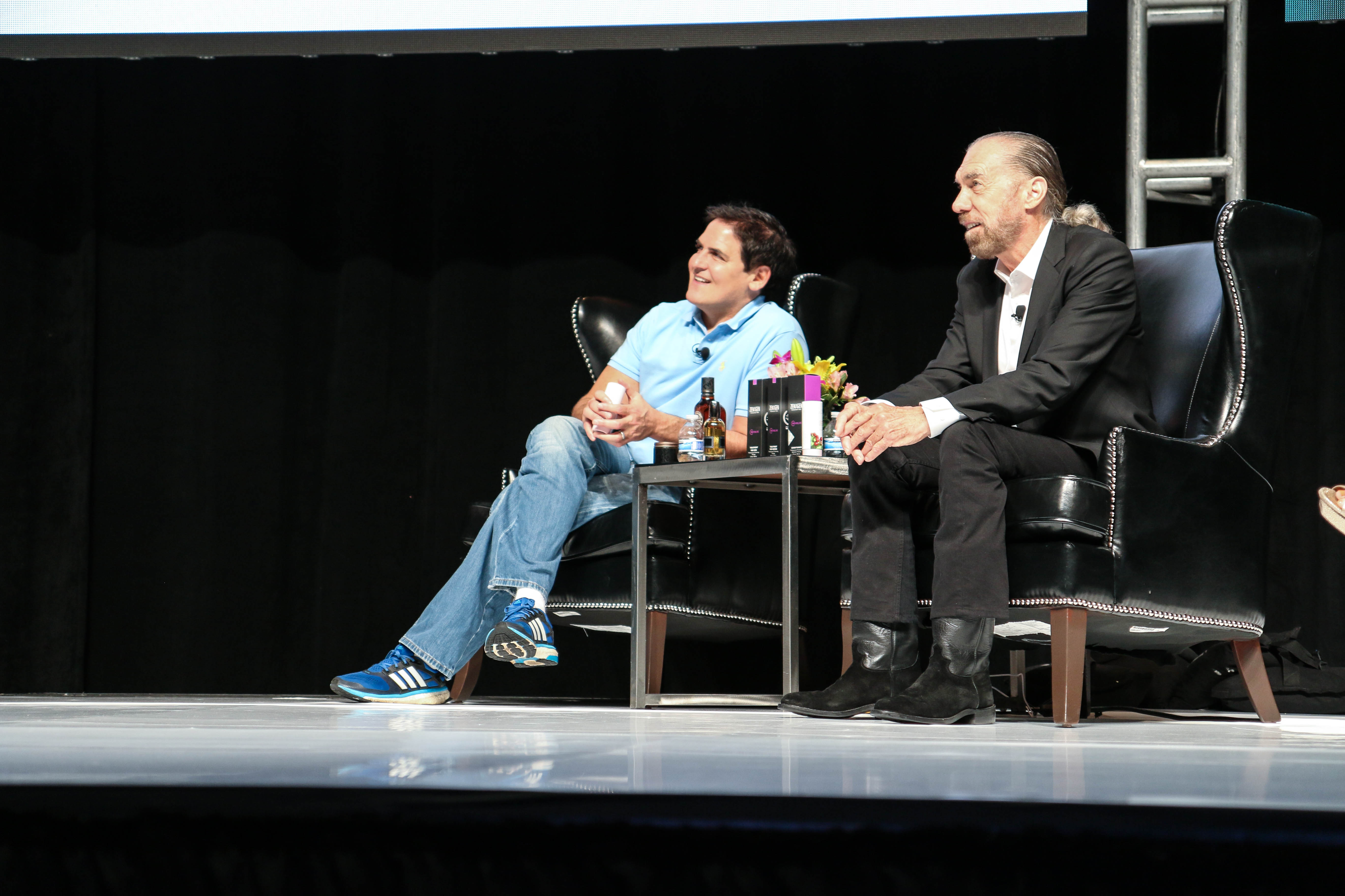 Mark Cuban and Co-Founder of Paul Mitchell, John Paul DeJoria, at Beauty Pitch 2015.