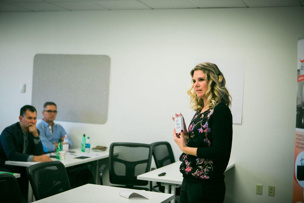 <p>Senior Marketing Director Maryline Desjardins walks ISBN members through a year's worth of Gene Juarez marketing programs.</p>