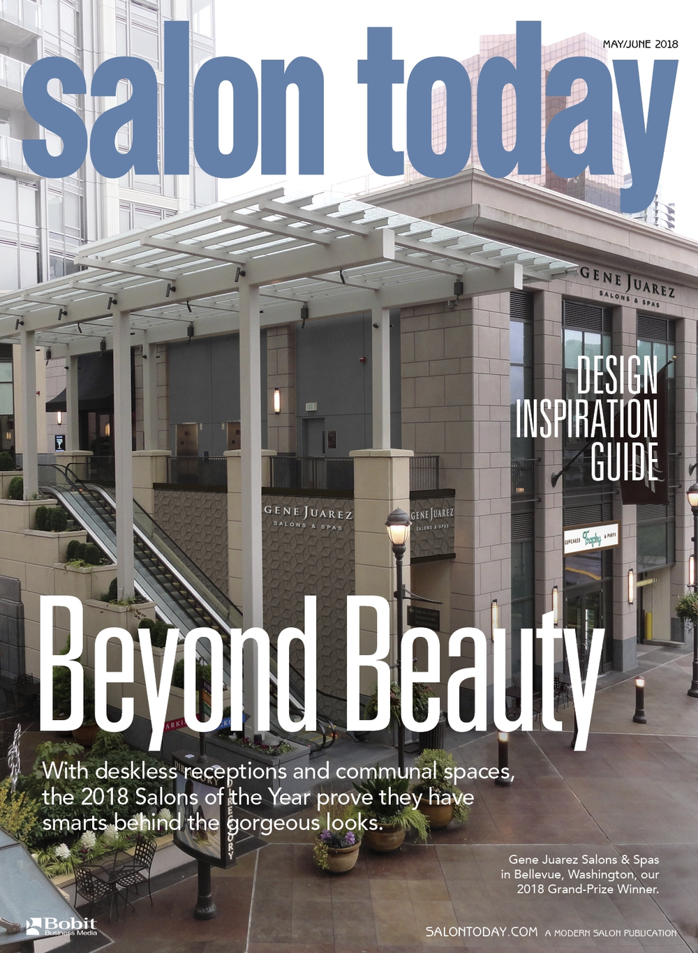 The May/June cover of Salon Today shows the exterior of the Grand Prize winner Gene Juarez Salon and Spa in Bellevue, Washington.