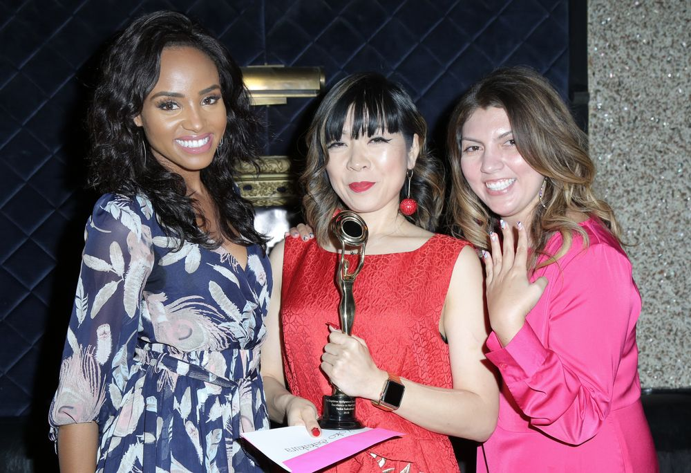 Actress <strong>Meagan Tandy (left) </strong>and Nails Magazine's Executive Editor <strong>Beth Livesay (right) </strong>presented Excellence in Nail Styling to <strong>Yoko Sakakura</strong>