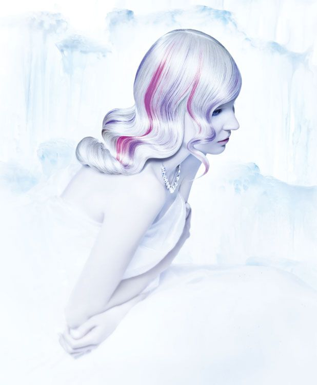 Frozen Waves -  A blend of candy pinks and purples softly wind through a silky Marcel set. Pre-lightened hair was toned with True Integrity Opalescent Color Crème Ash Toner and sliced with dimension colors of Urban Shock Color Craze. Stylers: White Tea Magical Serum and Velvet Molding Gloss