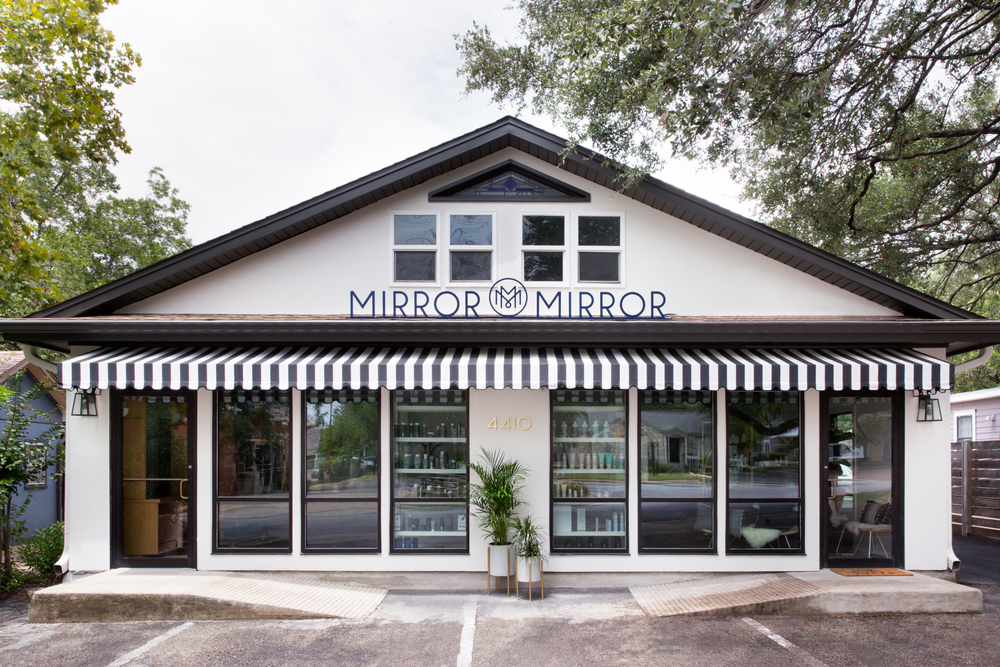 The owners of Mirror Mirror Salon in Austin, Texas, say their style is 'California Cool Meets Southern Charm,' and you can see that design intent on their building's exterior.