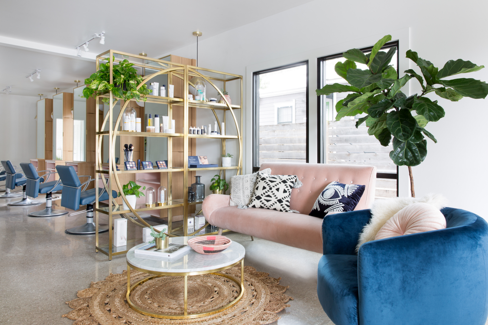 It's a pink, blue and gold palette for the reception area at Mirror Mirror Salon in Austin, Texas.