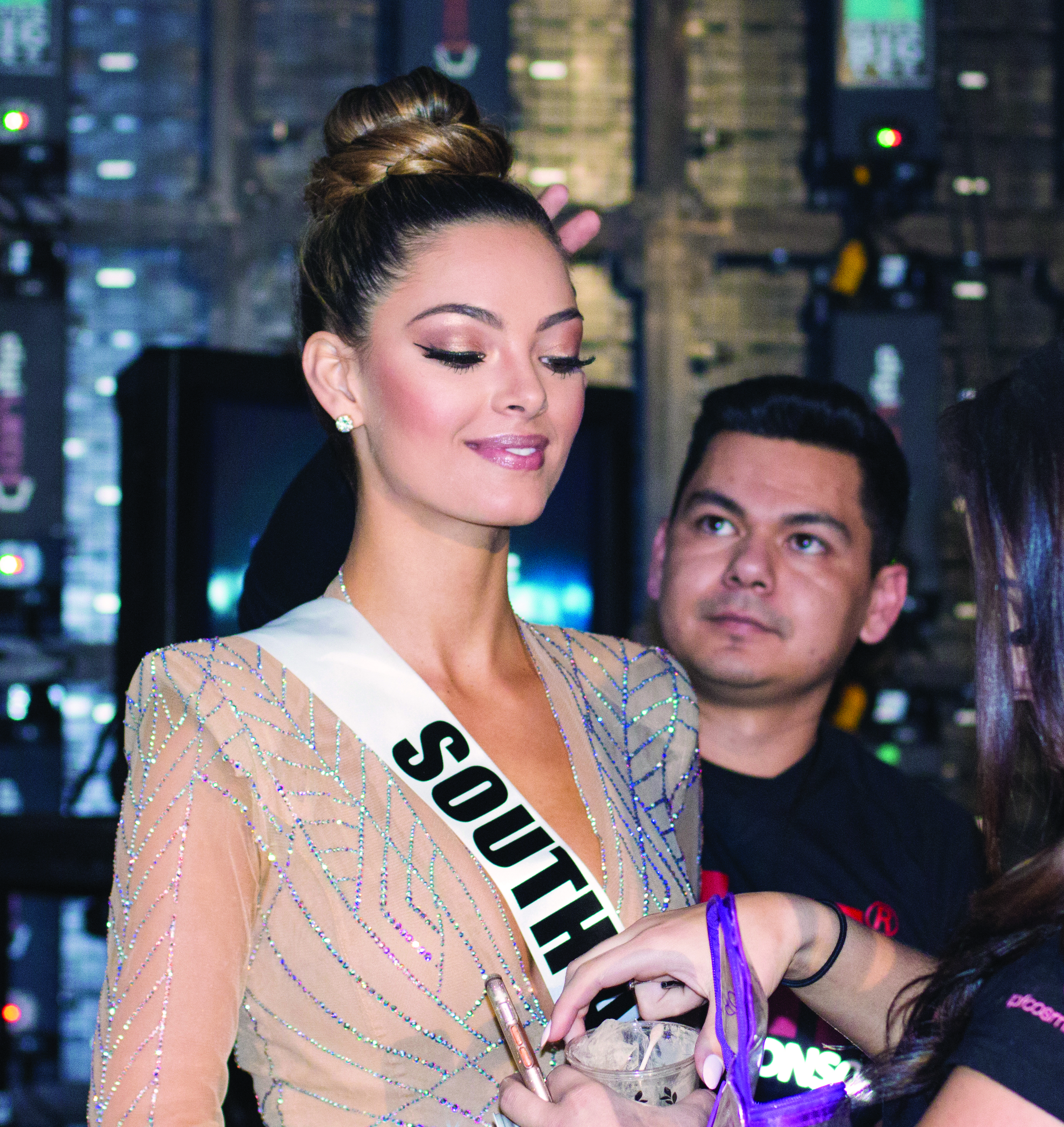 This year's winning contestant, Demi-Leigh Nel-Peters, Miss South Africa, sported an elegant braided bun styled by CHI artist Julian Macias.