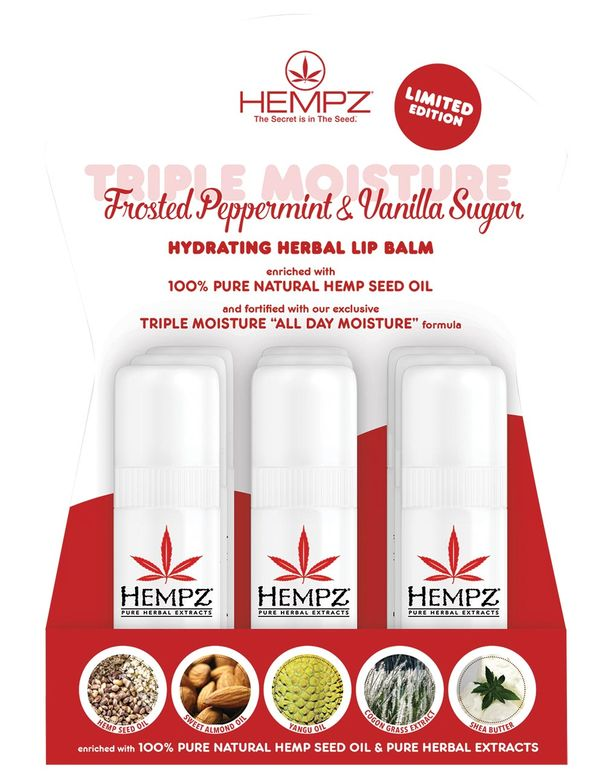 """""""The Hempz Mistletoe Kisses display, also exclusively for CosmoProf and Armstrong McCall, holds tubes that are larger than typical lip balms,"""" Hempz's Joseph DeMartino reports. """"This silky, hydrating formula is one of my favorites that we've ever done!"""""""