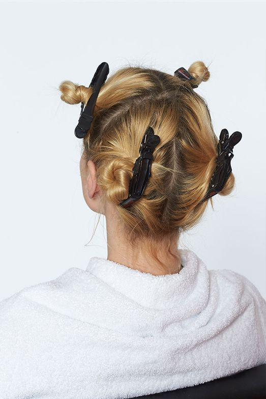 Section hair in quadrants, as shown.