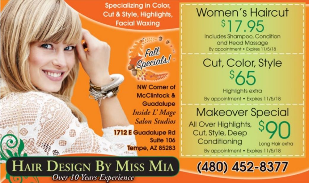 Bright colors like orange help attract prospective female clients.