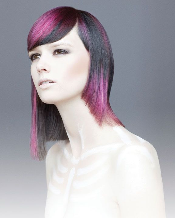 fuschia spirit - The model's base color was deepened to inky black, then sliced with vertical sections of dark purple, soft lavender, light pink and magenta. The color slashes were applied using Vero Color Intensities on pre-lifted sections.