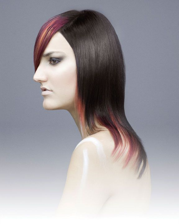 hot hues - Yellow, orange and red were added in slices to add contrast to the deep, level-4 brunette base.
