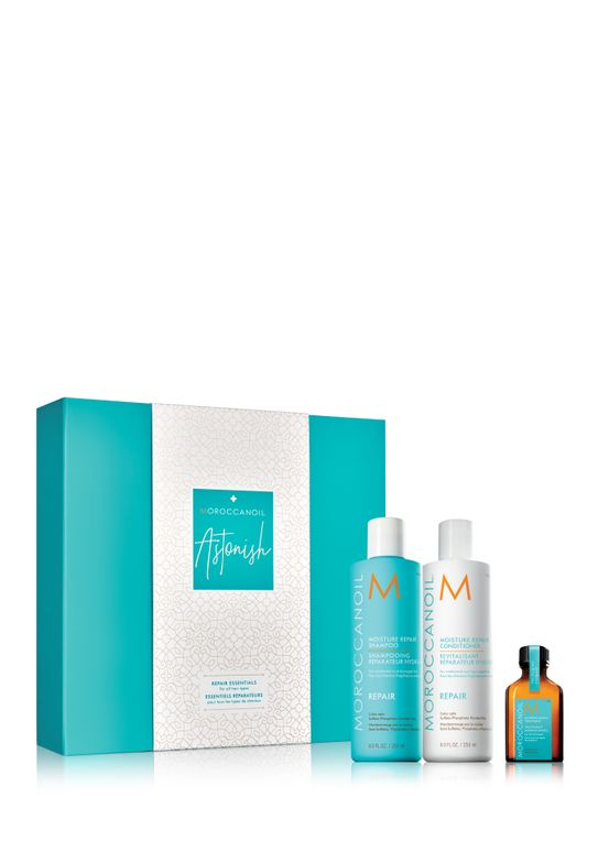 <p>The Moroccanoil Astonish Kit including Moroccanoil Moisture Repair Shampoo, Moroccanoil Moisture Repair Conditioner, and Moroccanoil Treatment.</p>