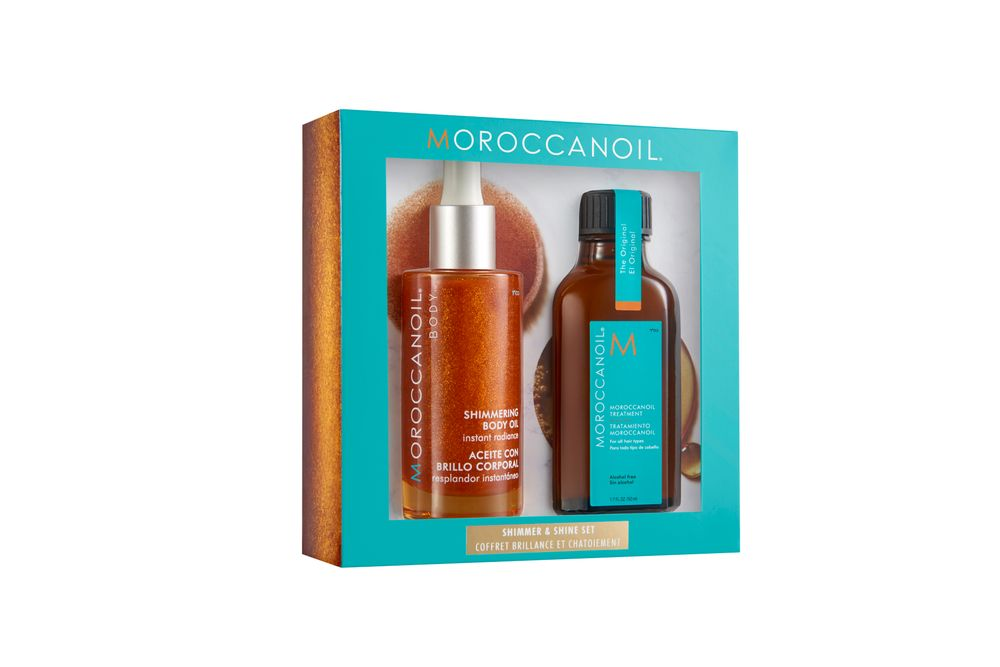 <p>The Moroccanoil Shimmer &amp; Shine set that features signature Moroccanoil Treatment and Moroccanoil Body Shimmering Body Oil.</p>
