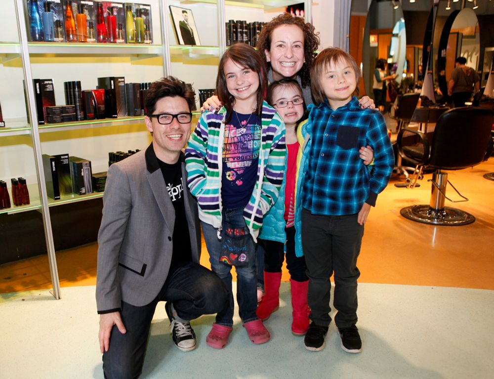 """Happy faces at the """"Art + Soul Afternoon"""" kids party held at Art and Science Salon in Evanston, Sunday, October 14, 2012, including founder Paul Wilson (far left) and son Emmett Wilson (far right). (Photo courtesy Jasmin Shah Photography)"""