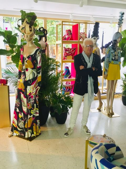 Nicholas French in the Miami Boutique of <strong>Emilio Pucci surrounded by the hair he created for the Resort 2019 collection.</strong>