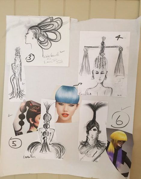 One of the story boards created by Nicholas French for the hair for the Emilio Pucci Resort 2019 Collection.