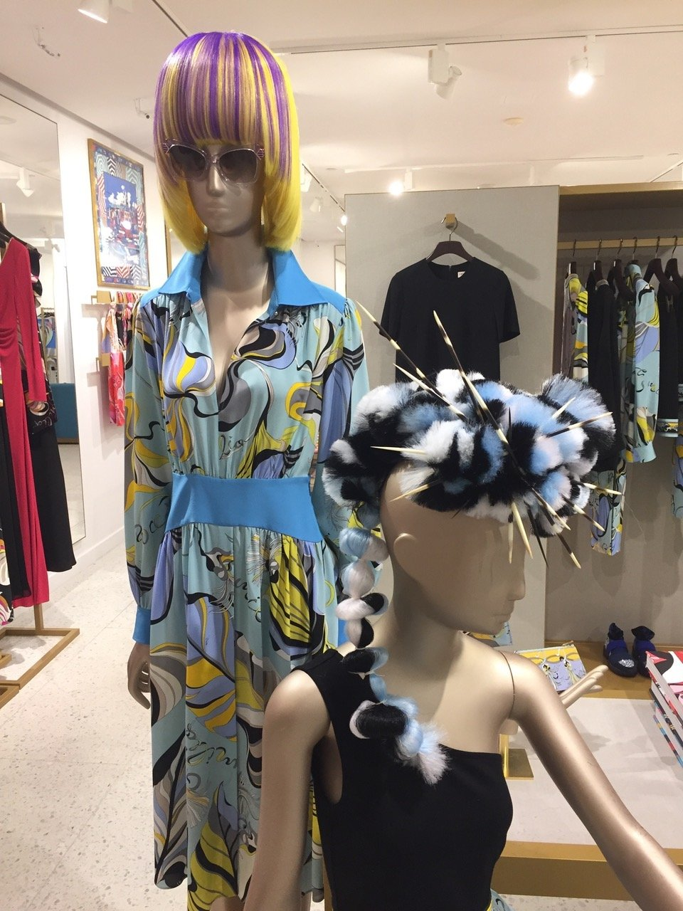 Nicholas French hair design enhancing the mannequin for the Resort 2019 Collection in the Miami Boutique of <strong>Emilio Pucci.</strong>