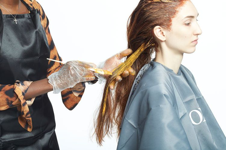 2. From mid shaft to ends, apply Wella Professionals Koleston Perfect 7/4 with 20-volume developer. Process for 30 minutes. Rinse thoroughly and shampoo with Nioxin System 5.