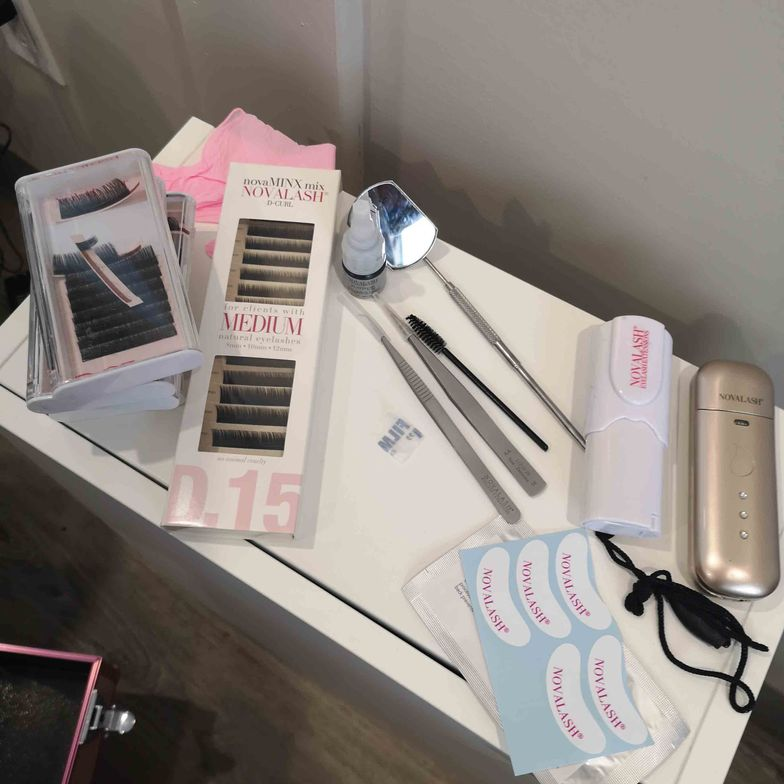 <p><strong>Claire's NovaLash station is equipped with her glam-lash essentials</strong>.</p>