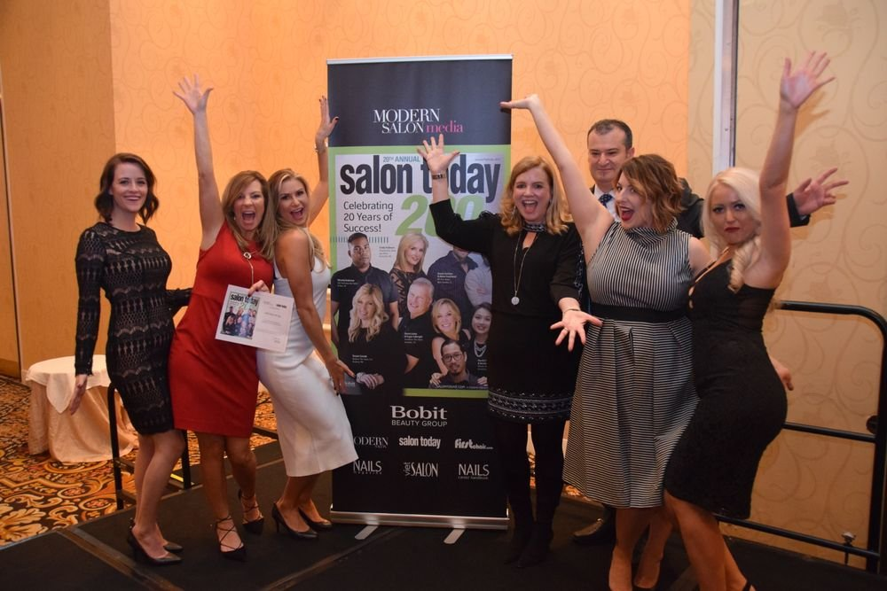 The team from NVS Salon and Spa in Bel Air, Maryland, represents one of the more than 100 salons who collected their ST200 certificate at the party.