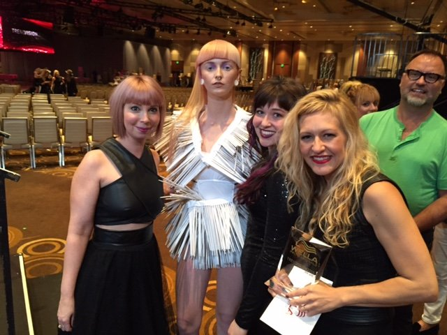 Katie Manselle and team immediately after winning Wella's NATVA gold in the Color Vision category.