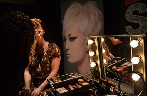 The lounge consists of two hair and makeup primp stations like this one.