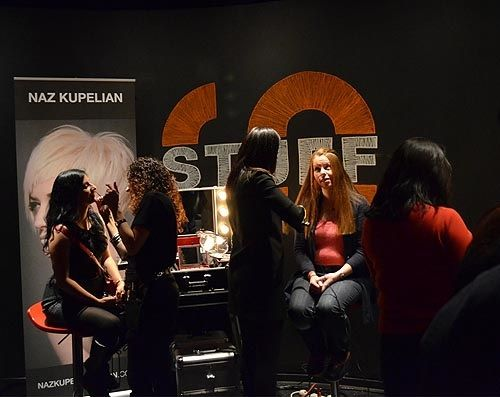 The Naz Kupelian team at work creating beauty within the pop-up lounge.