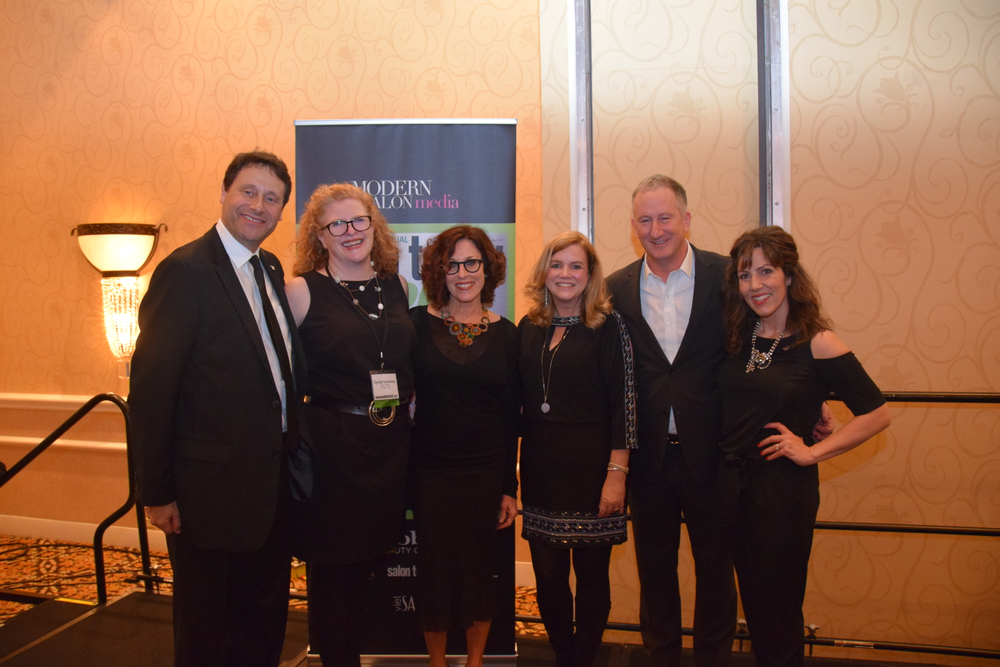 Modern Salon Media's Steve Reiss and Cyndy Drummey, Neill Corporation's Debra Neill Baker, Salon Today's Stacey Soble, Neill Corporation's Edwin Neill and Aveda Means Business' Laurel Nelson welcome the 2017 Salon Today 200 honorees to a party celebrating their success.