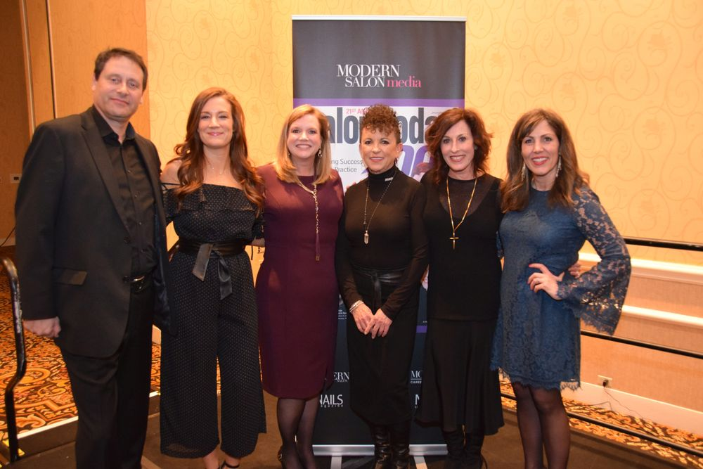 Modern Salon Media's Steve Reiss, Katharine Cook, and Stacey Soble, Neill Corporation's Carol Augusto and Debra Neill Baker and AvedaMeansBusiness' Laurel Nelson welcome attendees.