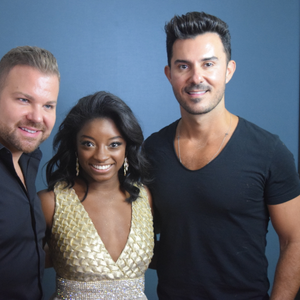 Nick Stenson, Olympic gymnast Simone Biles and George Papanikolas before the 2017 Golden Globes.