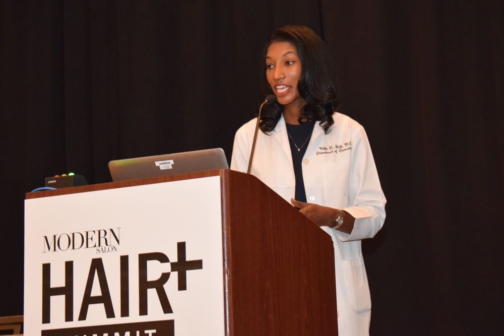 "In her presentation on the causes of hair loss, dermatologist Nikki Hill reminds the audience that time equals follicles. ""Inflammation chan change the ability for the scap to grow hair, and we need to shut down the inflammatory process as soon as possible."""