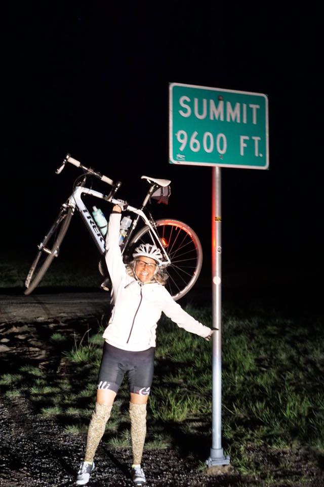 Nina Husen during a night-bike portion of her journey.