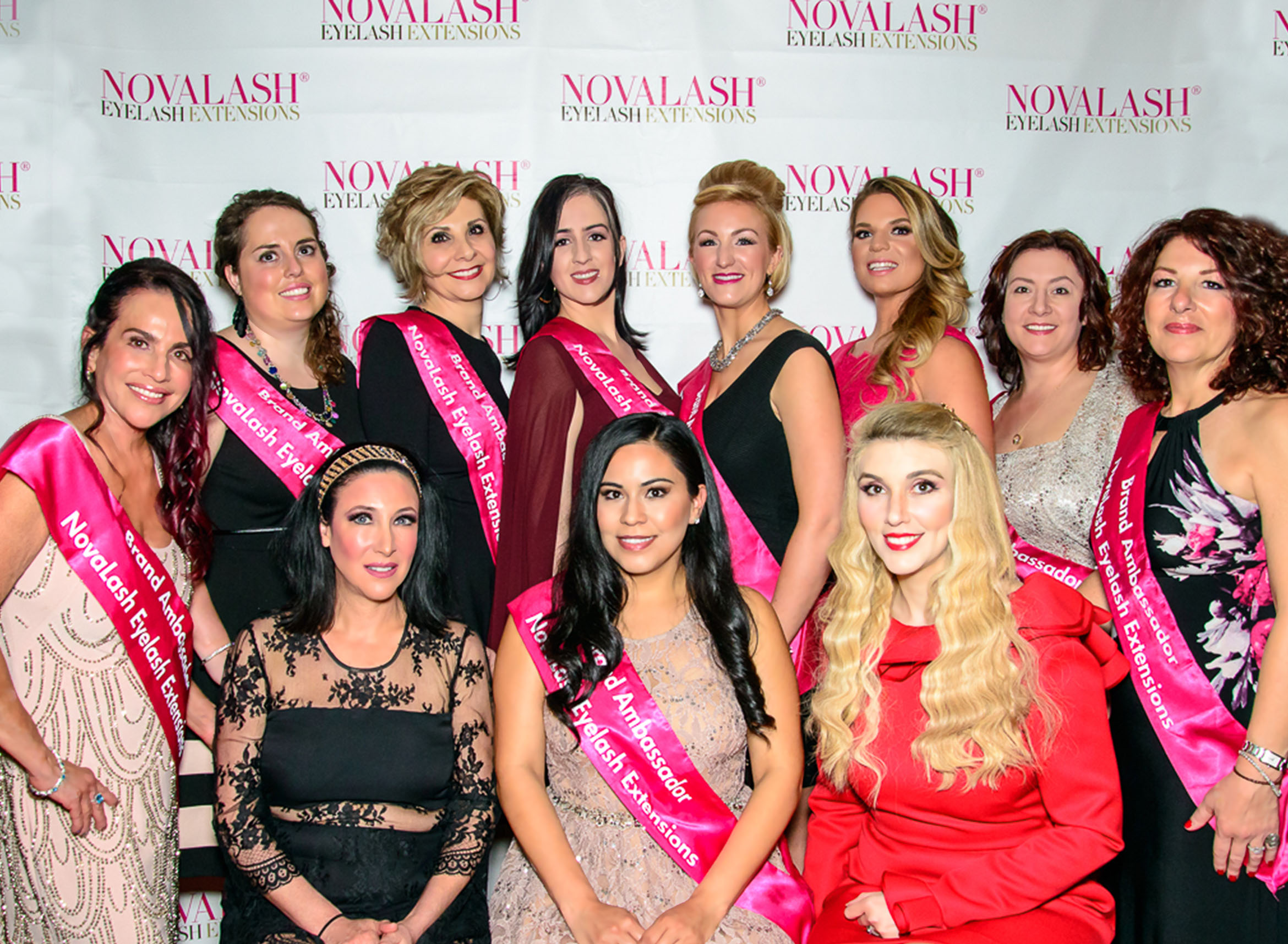 Pictured (front row, l-r seated ) are NovaLash Brand Ambassadors Sophia Navarro and Bianca Martinez with NovaLash President Sophy Merszei, and (back row, l-r) Brand Ambassadors Marilyn Burr, Trina Smith, Lauren Wade, Francesca Mastalka, Stefanie Thurman, Lindsey Josly-Rohner, Karlene Winchester and Michelle Mirizio