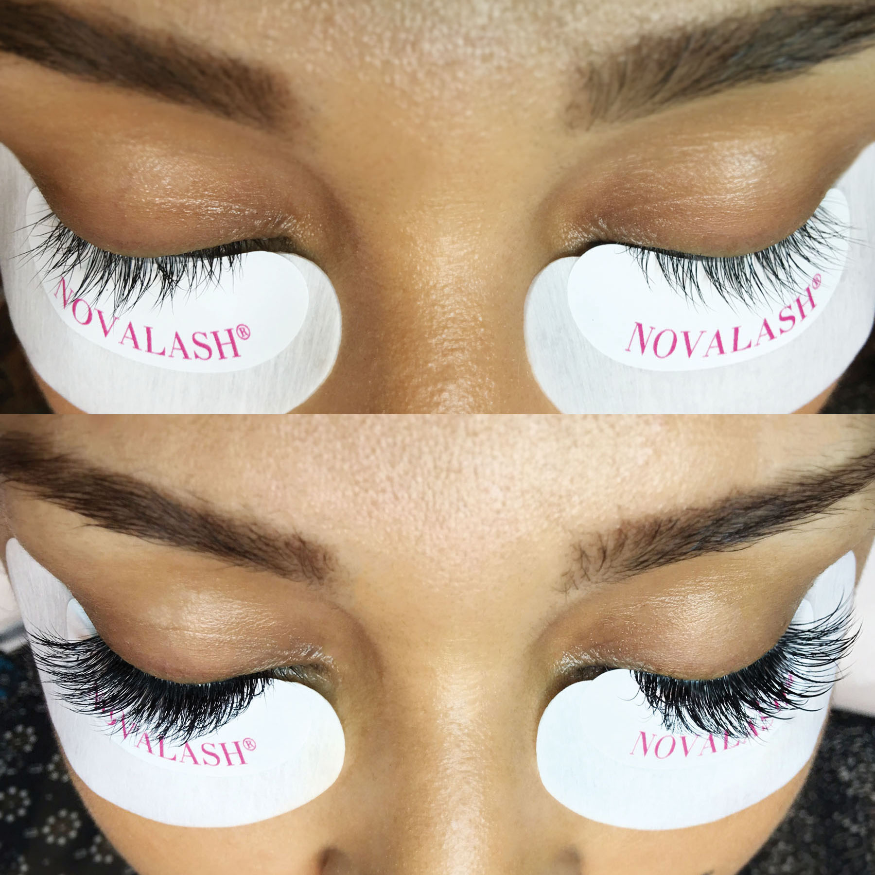 Before and After a NovaLash eyelash extension service.
