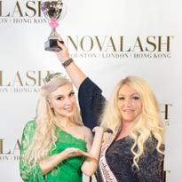 Sophy Merszei, CEO, Novalash presents Tonje Fjeldberg Elshaug with LASHoff Lash Artist of the...