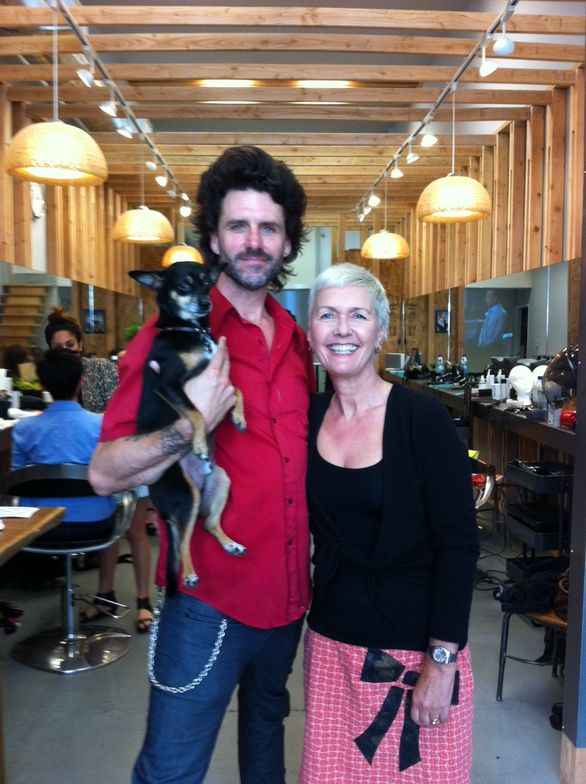 Curt Darling and Gill Hodgson (from Taboo Hair Salon) during the pre-shoot prep at Curt Darling's downtown LA salon.