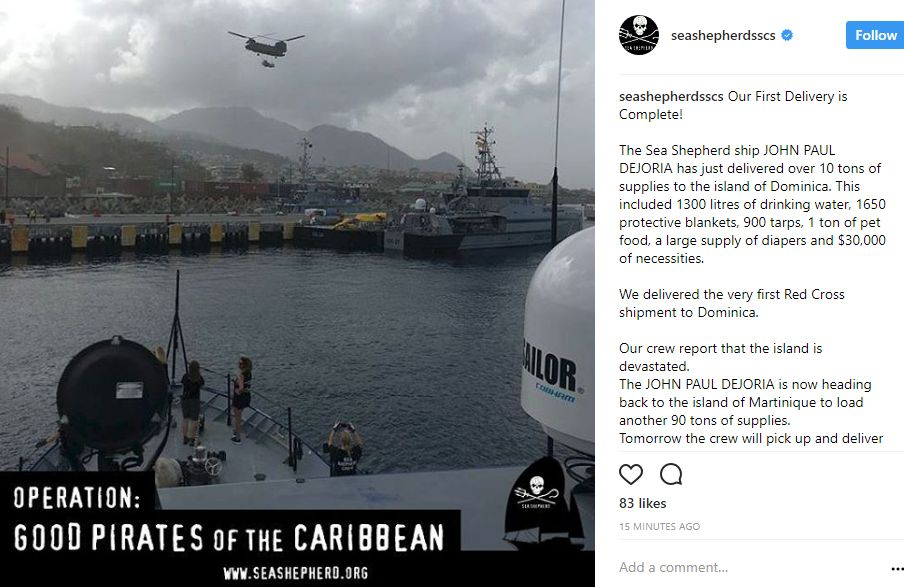The M/V John Paul DeJoria makes landfall on the island of Dominica. Photo via Instagram.